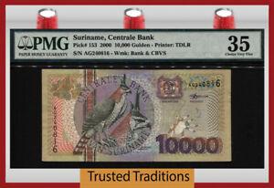 TT PK 153 2000 SURINAME CENTRALE BANK 10000 GULDEN BIRD PMG 35 CHOICE VERY FINE!