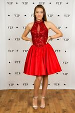Vintage red sequin beaded backless prom dress bridesmaid dress