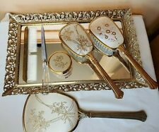 vintage gold and floral vanity set tray mirror brushes comb file and makeup jar