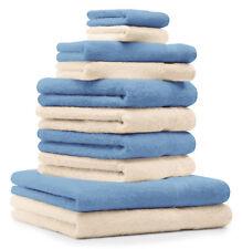 10-tlg. Handtuch Set Classic - Premium, Farbe: Beige & Hellblau, 2 Seiftücher 30