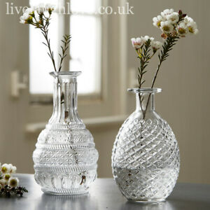 Set Of 2 Large Decorative Clear Glass Vases - Set B