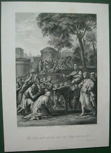 Religious Antique Print Jesus The King Cometh Unto Thee Meek Sitting on an Ass