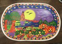 5 Vintage Halloween Rubber Spooky Pumpkin Patch Glow in Dark Place Mats Bats Cat