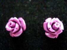 Sterling Silver Purple carved rose flower stud earrings 7mm Gothic Vamp Harajuku