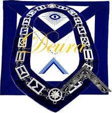 Masonic Mason WORSHIPFUL MASTER SILVER Jewel Collar and EMBROIDERED Apron