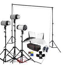 Godox 900W Flash Lighting Kit White Background Photo Studio Backdrop Stand Set