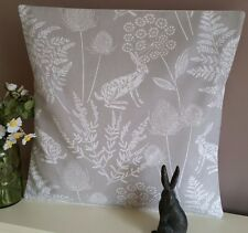 "New Hare -  Rabbit Cushion Cover Grey / Natural  16"" Gorgeous Print Pillow- Sham"