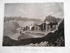 POMPEI Teatro Grande -  ampia e larga veduta   acquaforte del Fumagalli  1876