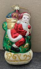 """Collectible Blown Glass Santa Claus & Sleigh Christmas Ornament - 6 3/4"""" Tall"""