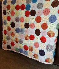 "Yo Yo Handmade Quilt Pinwheel Hand Stitched Tied 65"" x 86"" Full or Queen"