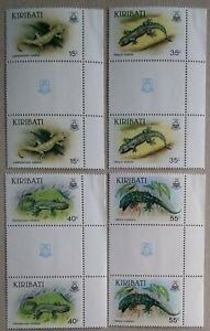 Kiribati QEII 1986 Geckos Set 4 Shield Gutter Marg' Pairs SG261/4 NHM Ex My Coln