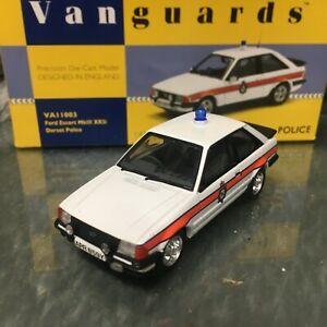 Corgi Vanguards Police 1:43 Ford Escort Mk3 XR3i Dorset Police VA11003