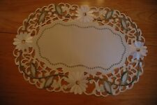 """Beautiful doilies with embroidered daises on ivory size approx 30x45cm/12""""x18"""""""