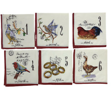 Williams Sonoma 12 Days Of Christmas Theme Cloth Napkins Red Complete