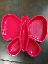 PINK/RED PLASTIC CHIP AND DIP PLATTER