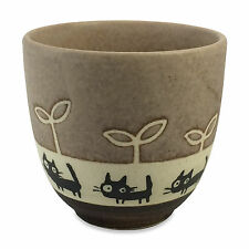 Mino ware Pottery Black Cat Walking Yunomi Chawan Tea Cup Brown made in Japan
