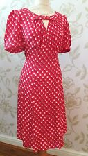 BNWT MARKS and SPENCER VINTAGE 1940s WW2 STYLE RED SPOT ZIG ZAG TEA DRESS UK 10