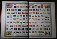 Flags of the World 1870 A. Johnson large attractive color lithographed print