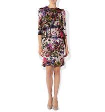 BNWT HOBBS €240 charcoal & purple watercolour floral CARAVAGGIO peplum dress 12