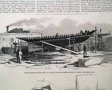 """Historic Yacht """"AMERICA"""" 1st America's Cup Construction PRINT 1851 Old Newspaper"""