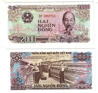 Banknote - Vietnam 1988, 2000 Dong, P107 UNC, Ho Chi Minh(F) Textile Workers(R)