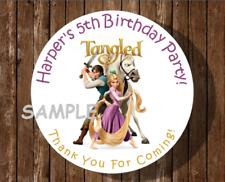 12 Tangled Birthday Party Stickers,round,labels,tags,favors,lollipops,rapunzel