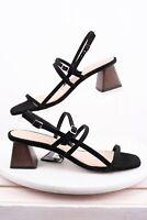 Massimo Dutti Womens Multi Strap Heeled Suede Sandals Black 8 Eu 39 5715/021 New