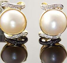 14K YELLOW GOLD SOUTH SEA MABE PEARL & DIAMOND FRENCH OMEGA BACK EARRINGS 14mm