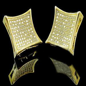 MEN'S LADIES YELLOW GOLD FINISH LAB DIAMOND KITE STUD EARRINGS SCREW BACKS 17MM