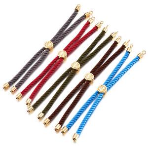 "10 Strds 9"" Nylon Twisted Cord Bracelet Bases Tree Slider Clasp Gold-Filled 2mm"