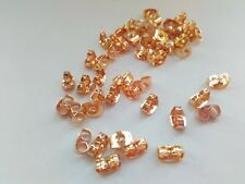 100 Rose Gold Earring Butterfly Backs Nuts Stoppers (50 Pairs) Component Finding