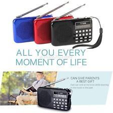 MINI Pocket Digital LED Light Stereo FM Radio MP3 Music Player Speaker Black