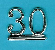 SILVER 30 NUMBERS/ NUMERALS (Pk of 6) CAKE DECORATION/ CARDS