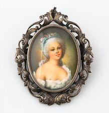 Antique European Brooch/Pendant Hand Painted Portrait Edwardian Pin 800 Silver