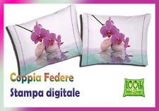 COPPIA FEDERE 52X82 100% COTONE STAMPA DIGITALE FIORE ORCHIDEA BIANCO FUCSIA 014