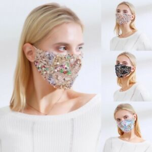 Sequin Glitter Face Mask Fashion Bling Sparkly Washable Face Cover Reusable  po