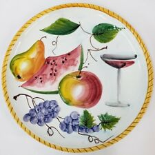 Lrg Platter Wall Hanging Plate Wine Fruit Apple Pear Grapes Martini Italy Signed