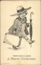 Christmas - Fancy Little Boy w/ Suitcase & Umbrella c1915 Postcard