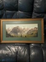 1920s Hand Tinted Photograph Gorgeous Panorama 21x9  Probably Switzerland
