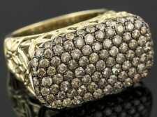 Chocolate Brown Champagne Pave Diamond 2.50ctw Round 10k Yellow Gold Ring Sz. 8