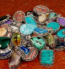 Wholesale Mix Lot 50 PCs. TURQUOISE & DRUZY 925 Sterling Silver Plated Pendant