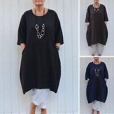 Ladies Lagenlook Quirky Linen Tunic Dress 14 16 18 20 22 24 26 28 30 32 9469