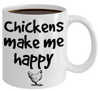 Chicken Mug Gift For Chicken Lover Farmer Mom Chickens Make Me Happy Coffee Cup