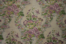Vintage French fabric 1940 print cotton FADED FLORAL large scale purple & green