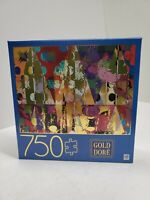 New Sealed 750 Piece Puzzle Art Gold Dore Abstract Triangles 2019
