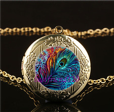 Peacock Feather Photo Glass Gold Plating Chain Locket Pendant Necklace