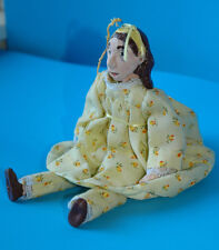 Vintage handmade clay Doll w/ clothes moveable pose-able hand painted face face
