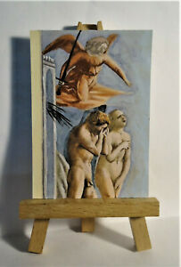 Expulsion from Eden ACEO Original PAINTING by Ray Dicken a Masaccio Florentine