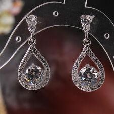 fashionable lady promising dangle earring 18k white gold filed White Topaz