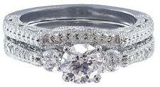 14k White Gold Round Cut Diamond Engagement Ring And Band Antique Bridal 0.75ct